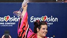 """Певица Нетта Барзилай (Израиль), победившая в финале международного конкурса """"Евровидение-2018"""", отвечает на вопросы журналистов на пресс-конференции после окончания церемонии награждения."""