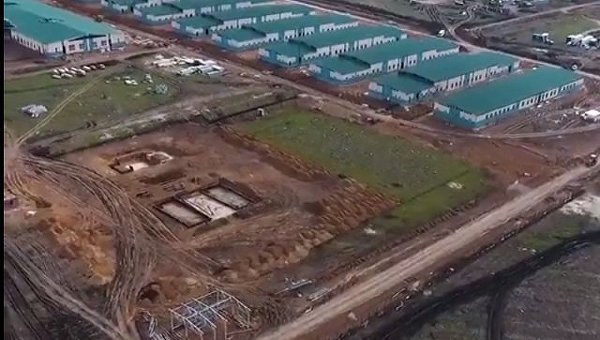 Строящийся военный городок на полигоне Широкий лан в Николаевской области
