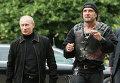 Владимир Путин и лидер Ночных волков Александр Залдостанов (Хирург)