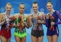 Универсиада. Художественная гимнастика. Справа: Анна Ризатдинова и Алина Максименко (Украина) - бронза