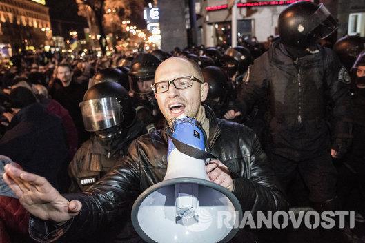 Арсений Яценюк - митинг сторонников евроинтеграции Украины в Киеве