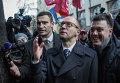 Виталий Кличко, Арсений Яценюк и Олег Тягнибок - пикет перед Кабинетом министров Украины