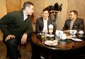 Виталий Кличко, Михаил Саакашвили и Влад Филат в киевском кафе