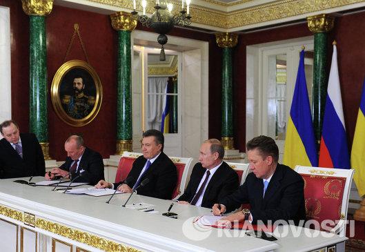 Алексей Миллер, Владимир Путин, Виктор Янукович - заседание российско-украинской межгоскомиссии