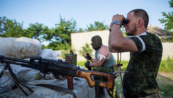 Блокпост ополчения на окраине Славянска