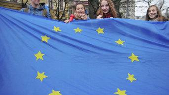 Митинг. Флаг Евросоюза