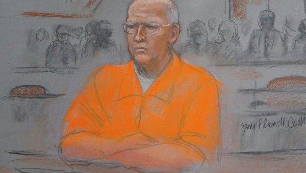 Гангстер Джеймса Уайти Балджер во время судебного процесса. Рисунок из зала суда