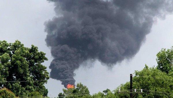 Пожар на химзаводе в штате Луизиана