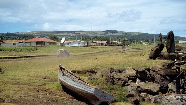 Поселок Ханга Роа - единственный населенный пункт острова Пасхи