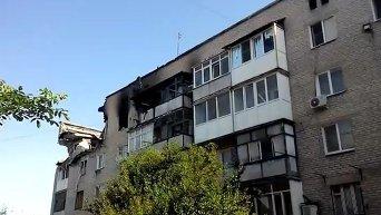 Последствия обстрела жилых домов в Марьинке. Видео