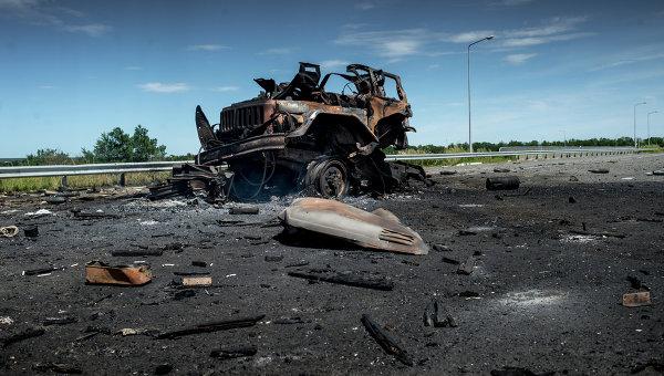Сожженная бронетехники украинской армии