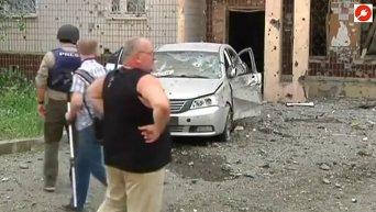 Последствия артобстрела в Донецке. Видео
