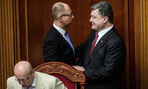 Александр Турчинов, Арсенй Яценюк и Петр Порошенко