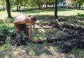 Пленный украинский военный роет могилу для погибших сослуживцев в результате боев в Шахтерске