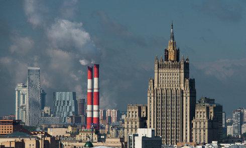 Вид на здание Министерства иностранных дел РФ в Москве.