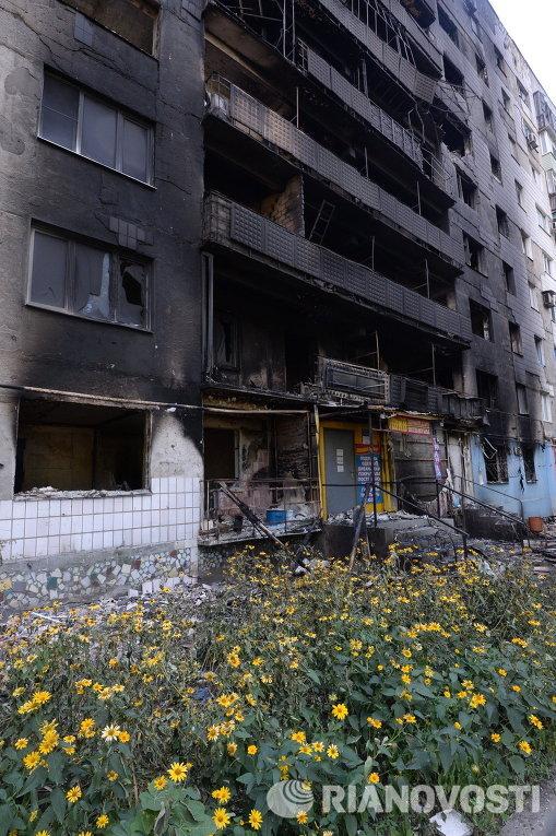 Разрушения в Шахтерске