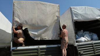 Колонна автомобилей с гуманитарной помощью РФ. Архивное фото