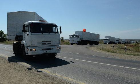 Первые КамАЗы с гуманитарной помощью из РФ. Архивное фото