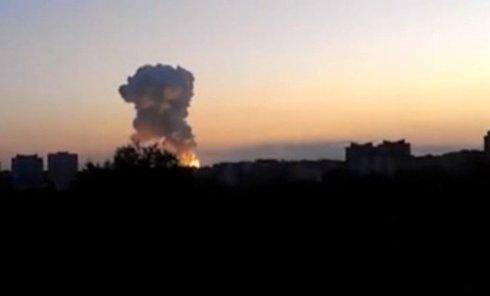 Мощный взрыв в Донецке. Видео