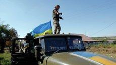 Украинские военные в зоне АТО под Луганском