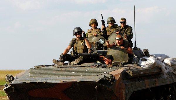 Лагерь украинских военных под Луганском