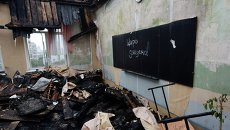 Одна из Донецких школ, поврежденных при обстреле