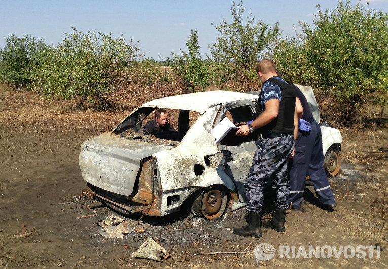 Место гибели Андрея Стенина в районе Донецка
