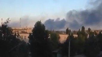 Пожар на Луганской ТЭС после обстрела