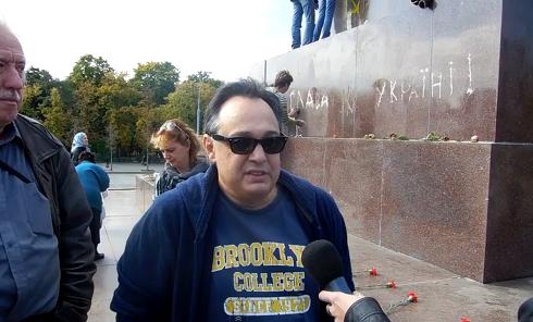 На месте крушения памятника Ленину в Харькове