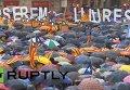 Демонстрация в поддержку референдума о независимости Каталонии в Барселоне. Видео