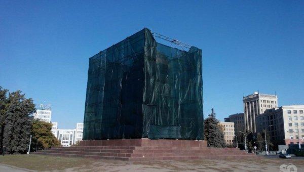 Постамент памятника Владимиру Ленину в Харькове