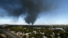 Район аэропорта Донецка после обстрела