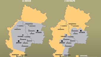 Изменение территорий, подконтрольных Киеву и ДНР/ЛНР, с начала АТО. Инфографика