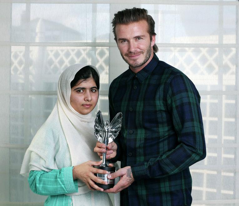Пакистанская правозащитница Малала Юсафзай и экс-футболист Дэвид Бекхэм