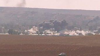 Авиаудар ВВС США по боевикам ИГ в сирийском городе Кобани. Видео