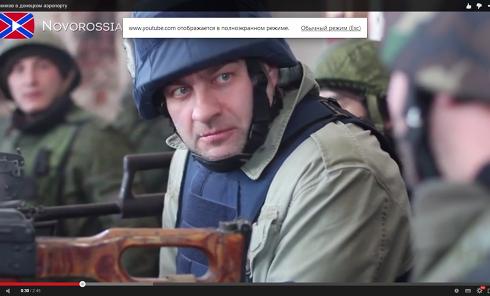 Российский актер Михаил Пореченков в донецком аэропорту у ополченцев