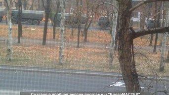 Колонна военной техники в Донецке. Видео