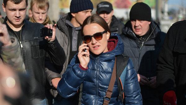 Журналистка телеканала Lifenews Евгения Змановская во время задержания в Киеве