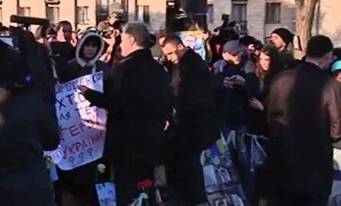 Петр Порошенко во время праздновании годовщины Евромайдана