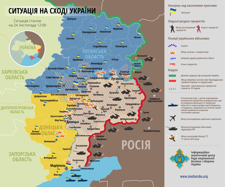 Ситуация в зоне АТО на 24 ноября. Карта СНБО