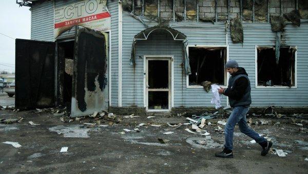 Куйбышевский район Донецка после обстрела