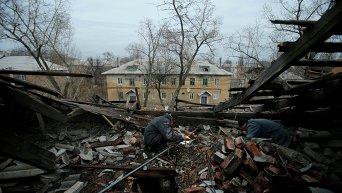 Последствия обстрела Донецка 27 ноября