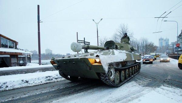 Колонна самоходных гаубиц Гвоздика прошла из Луганска в Донецк. Архивное фото