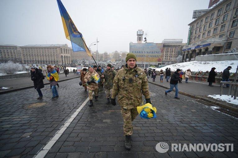 Бойцы из зоны АТО прошли маршем по Крещатику