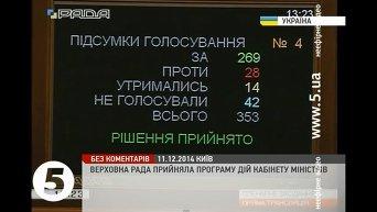 Рада приняла программу правительства. Видео