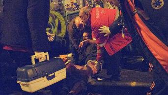 Пострадавший болельщик французского Сент-Этьена в результате драки с фанатами днепропетровского Днепра