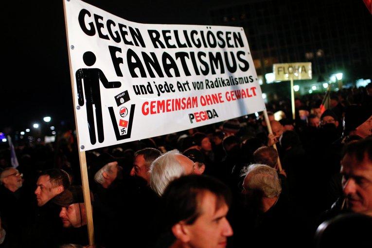 Антимиграционные протесты в Дрездене (Германия)