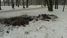 Все, что осталось от памятника героям ОУН-УПА в Харькове.