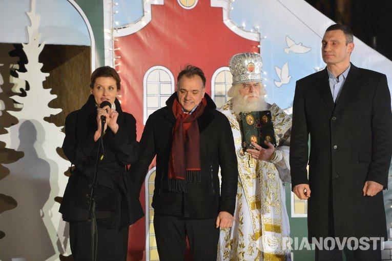 Марина Порошенко и Виталий Кличко на официальном открытии главной елки страны