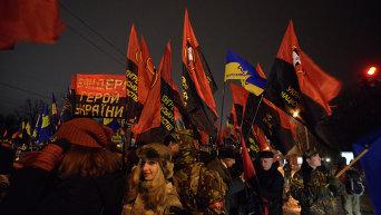 Факельный марш в честь Степана Бандеры